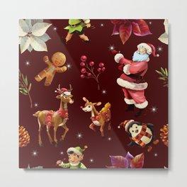 Joyful Christmas Santa Elfs Deers Metal Print