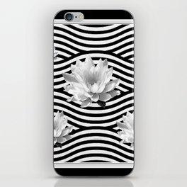 Black & White Water Lilies Water Garden iPhone Skin