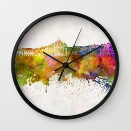 Coimbra skyline in watercolor background Wall Clock
