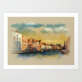 Landscape with beautiful medieval houses and canals. Bruges, Belgium. Art Print