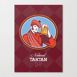 National Tartan Day Beer Drinker Greeting Card Canvas Print