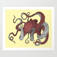 octopus Art Prints featuring Octopus by Amanda James