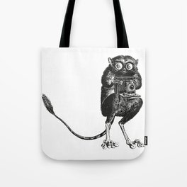 Say Cheese! | Tarsier with Vintage Camera | Black and White Tote Bag