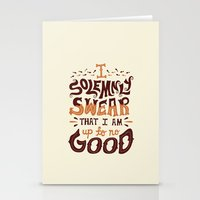 risa rodil Stationery Cards featuring I am up to no good by Risa Rodil