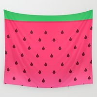watermelon Wall Tapestries featuring Watermelon by AnishaCreations