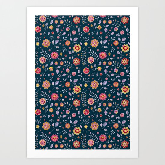 Teal and Brights Flower Pattern Design Art Print