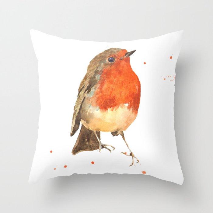 Robin, robin redbreast, songbird, garden birds, Christmas, hostess gift Throw Pillow