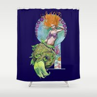 pinup Shower Curtains featuring Mermaid Pinup by Theresa Lammon