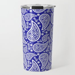 Paisley (White & Navy Blue Pattern) Travel Mug