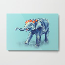 Cute Elephant In Blue With Wreath Of Flowers Metal Print