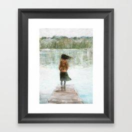 Girl on the pier Framed Art Print