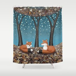 starlit foxes Shower Curtain