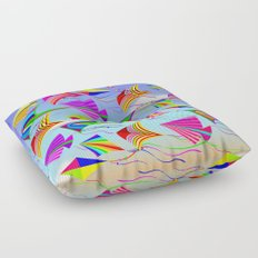 Kites Rainbow Colors in the Wind Floor Pillow