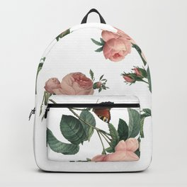 Rose Garden Butterfly Pink on White Backpack
