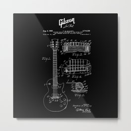 Gibson Les Paul Guitar Patent Drawing 1955 - Blueprint - Music Metal Print
