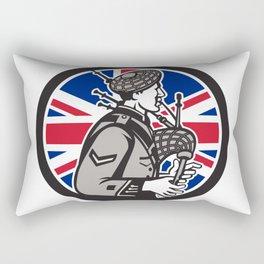 British Bagpiper Union Jack Flag Icon Rectangular Pillow