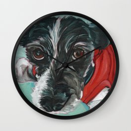 Black and White Dog Portrait Wall Clock