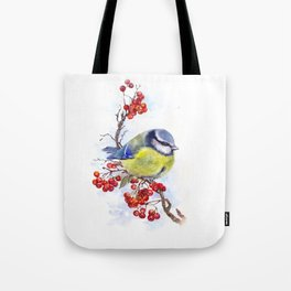 Watercolor Titmouse Great tit winter bird Tote Bag