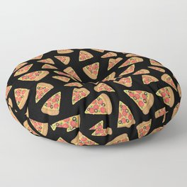 Pizza Party Black Pattern Floor Pillow