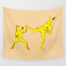 Horse-Dude versus Kick-Bunny Wall Tapestry