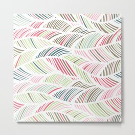 Palm Leaf, Striped Abstract Wave Pattern, Pastel Pink, Grey, Green, Blue Metal Print