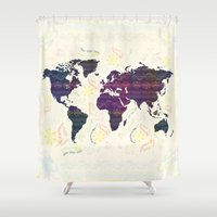 map Shower Curtains featuring Map by famenxt