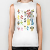 power rangers Biker Tanks featuring Mighty Melty Power Rangers by Josh Ln