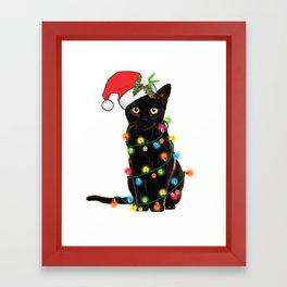 Santa Black Cat Tangled Up In Lights Christmas Santa T-Shirt Framed Art Print