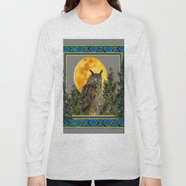 WILDERNESS OWL WITH FULL MOON PINE TREES Long Sleeve T-shirt