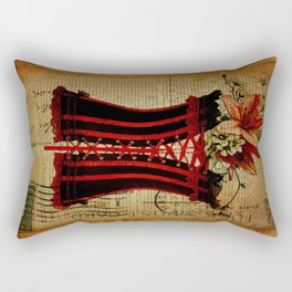 elegant girly lily flower newspaper print  black red corset Rectangular Pillow