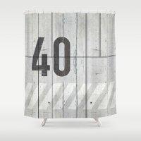 concrete Shower Curtains featuring background concrete by Tony Vazquez