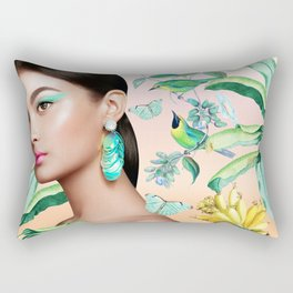 Gia in the Jungle - Pink Rectangular Pillow
