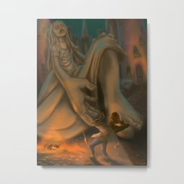 Statue in the Courtyard Metal Print
