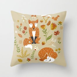 Foxes with Fall Foliage Throw Pillow