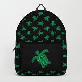 Art Deco Turtle on Black Backpack
