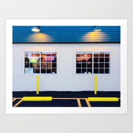 windows of the bar and restaurant in Los Angeles, USA Art Print