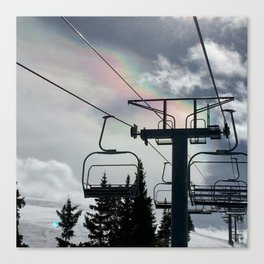 4 Seat Chair Lift Rainbow Sky \\ The Mountain Sun Rays \\ Spring Skiing Colorado Winter Snow Sports Canvas Print