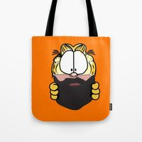 garfield Tote Bags featuring Garfield Cat Beard by Stuff Your Eyes