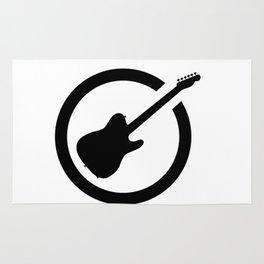 Guitar Black Ink Stamp Rug