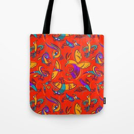 Pattern with Firebirds (on red background) Tote Bag