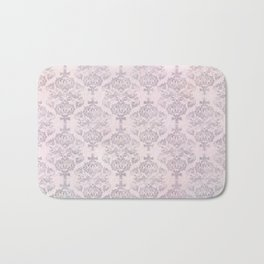 Rose Grey Pastel Damask Watercolor Pattern Bath Mat
