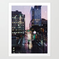 Rain & Lights & City Sites Art Print