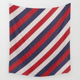 Red, Navy Blue & White Stripes Pattern Wall Tapestry