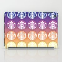 starbucks iPad Cases featuring Sunset Gradient Starbucks Logo by KJ Designs