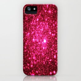 Hot Pink Glitter Galaxy Stars iPhone Case