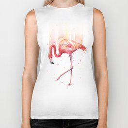 Pink Flamingo Watercolor Tropical Bird Biker Tank