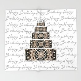 Black and Rose Gold Mandala Birthday Cake and Candles Throw Blanket