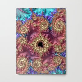 Elegant Stylish Feminine Feather Swirls Spirals Colorful Turquoise Peach Pink Purple Fractal Art Metal Print