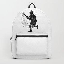Boy Lacrosse Black Watercolor Sports Art Backpack