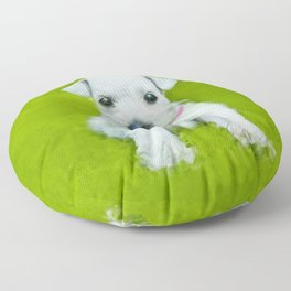 White Schnauzer Puppy Floor Pillow